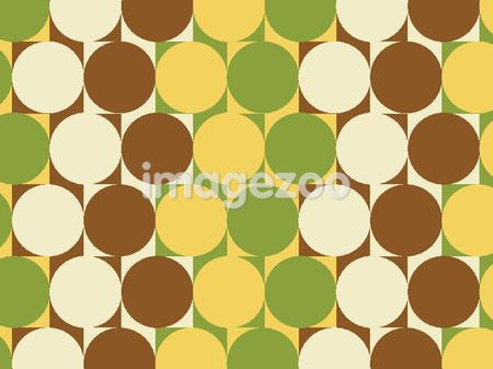 Illustrated abstract pattern with green, ivory, brown, and yellow shapes