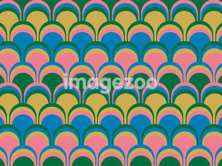 Illustrated abstract pattern with yellow and pink on blue