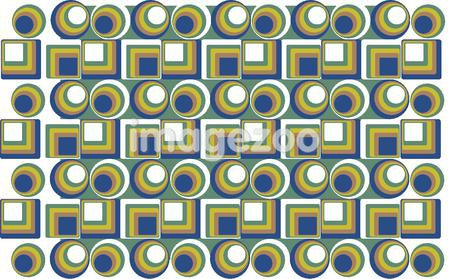 Illustrated abstract pattern with green and blue shapes