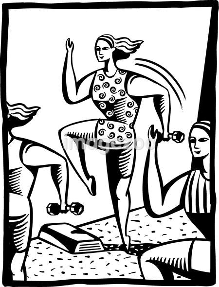 A black and white illustration of women exercising at an aerobics class