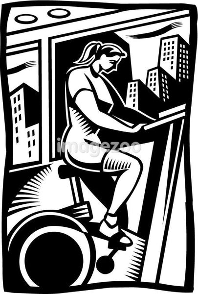 A black and white drawing of a woman exercising on a stationary bike