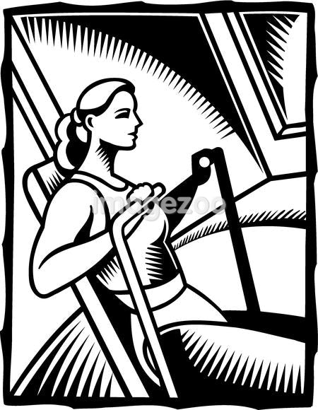 A black and white illustration of a woman exercising on a rowing machine