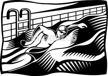 A black and white illustration of a swimmer swimming in a pool