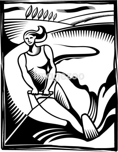 A black and white illustration of a woman water skiing