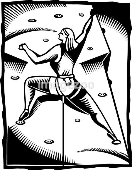 A black and white drawing of a woman participating in an indoor wall climbing