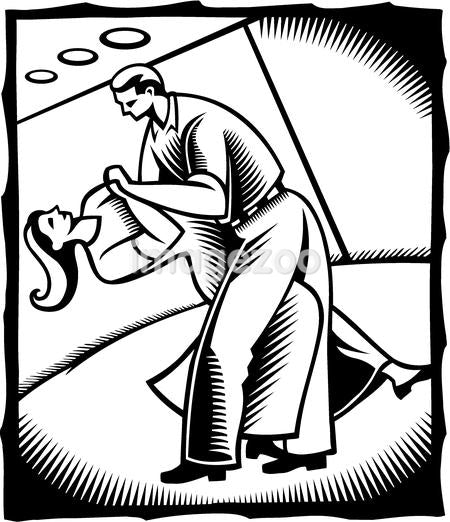 A black and white drawing of a couple doing ballroom dancing