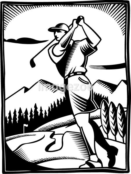 A black and white drawing of a golfer at a golf course
