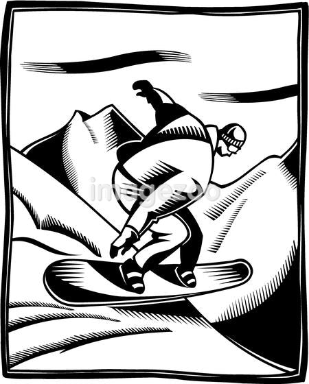 A black and white illustration of a man snowboarding