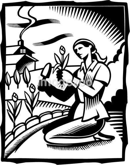 A black and white drawing of a woman doing gardening