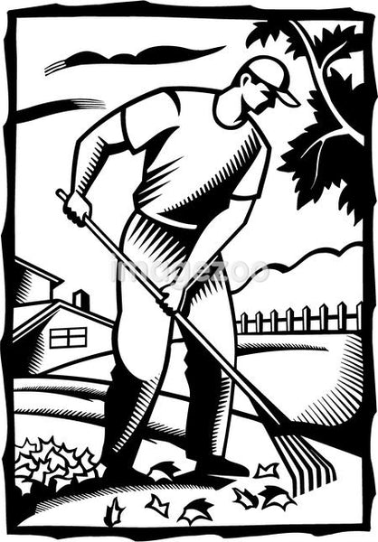 A black and white illustration of a man raking leaves