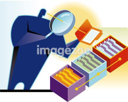 A man looking at files using a magnifying glass