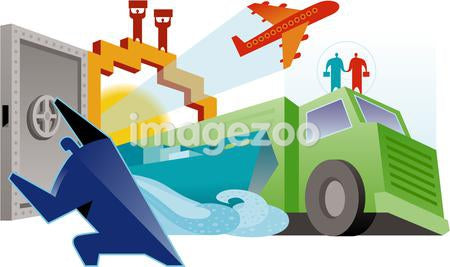 An illustration of land, sea and air transport