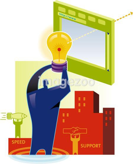 Online business idea - a man holds up a lightbulb in front of a screen