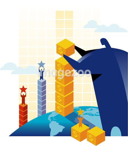 A man building columns of blocks with men standing on top