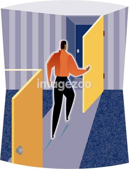 Illustration of a man going through doors