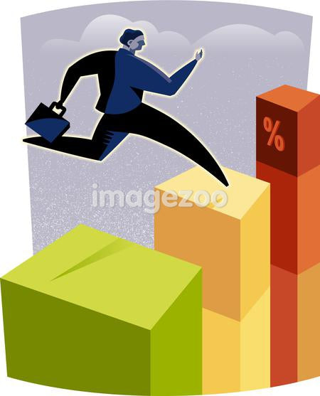 A businessman jumping on columns