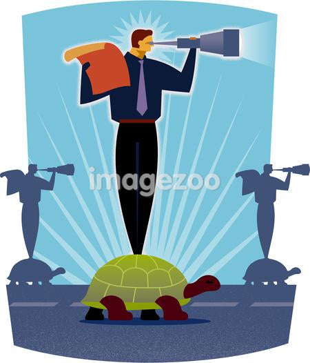 A man standing on a turtle while looking through a telescope