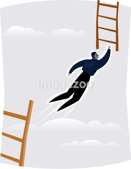 An acrobat businessman reaching for the ladder