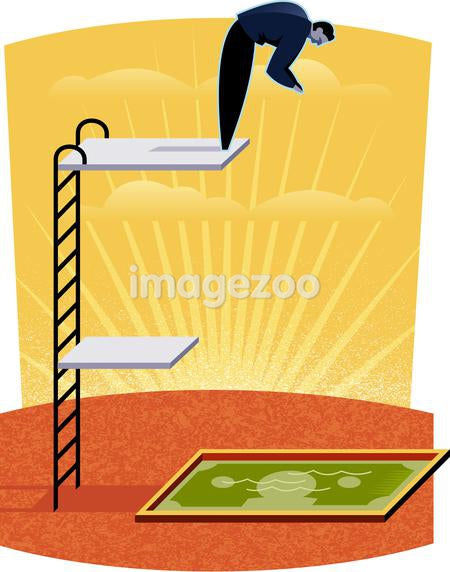 Illustration of a man high diving into a pool of money