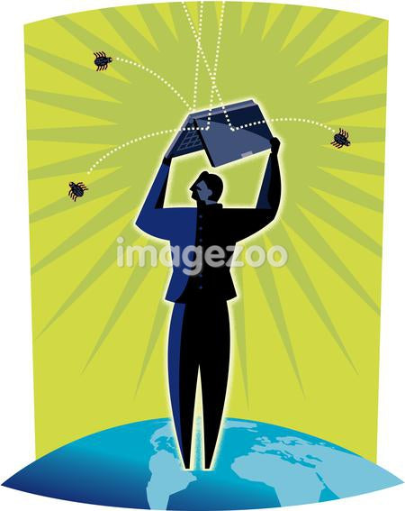 Illustration of a man standing on a globe using a laptop computer to shield him from grenades