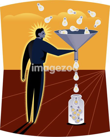 Illustration of a man funneling light bulbs into a jar