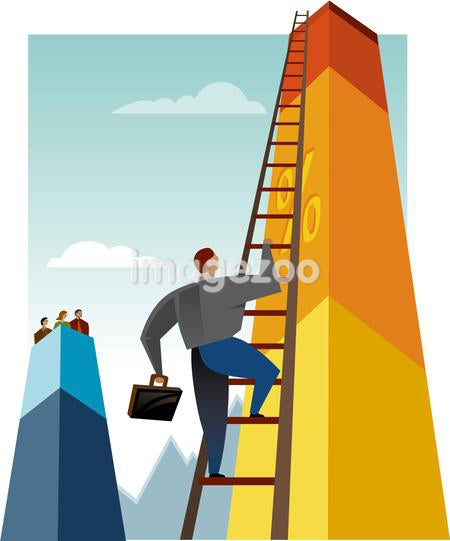 A man climbing a chart using a ladder
