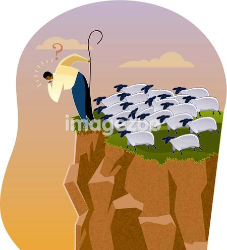 A shepherd at the edge of a cliff