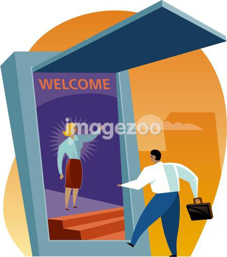 A businessman entering the screen is welcomed by a woman