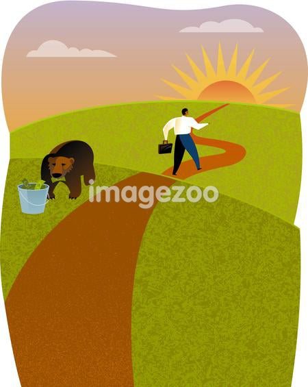 A bear eating money and a businessman walking on a path