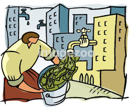 A woman filling a bucket with money