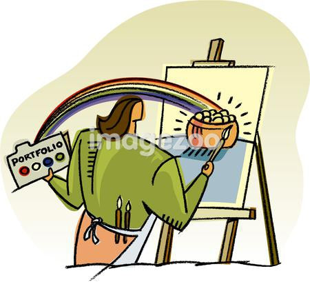 A woman painting a pot of gold