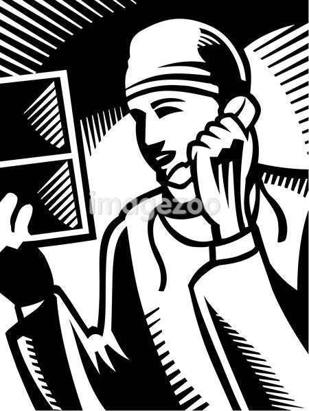A black and white drawing of a doctor on the phone