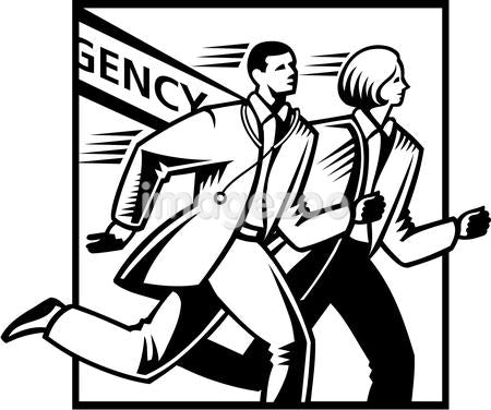Illustration of two doctors running past an emergency sign
