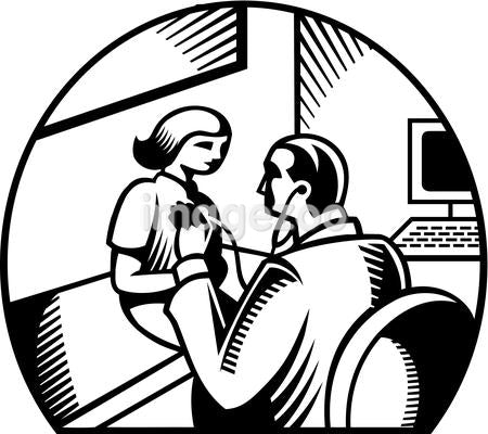 A black and white drawing of a pediatrician performing medical checkup on a girl