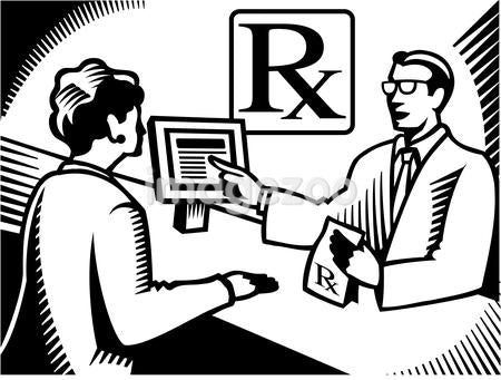 A pharmacist explaining a prescription to a customer drawn black and white