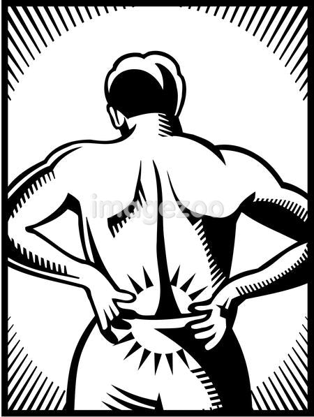 A black and white illustration of a man with lower back pain