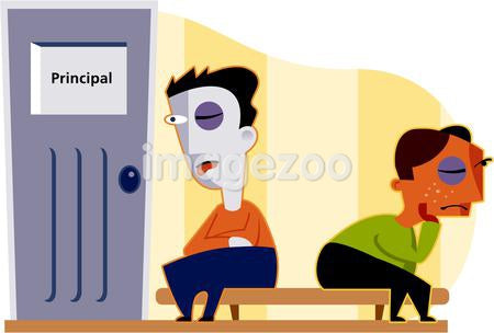Two boys, each with a black eye, wait outside the principal's office