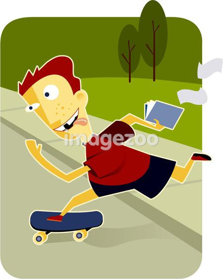 A boy on a skateboard