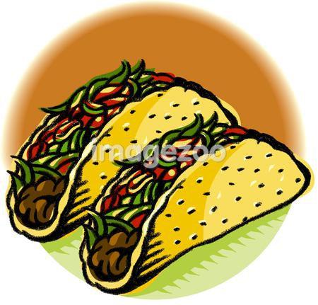 A drawing of two tacos