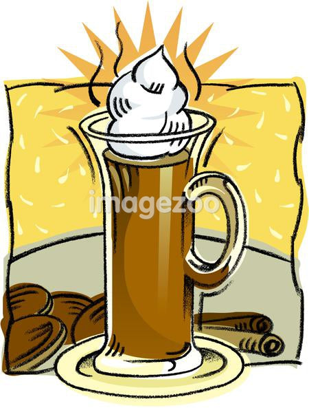 A drawing of a cup of hot chocolate