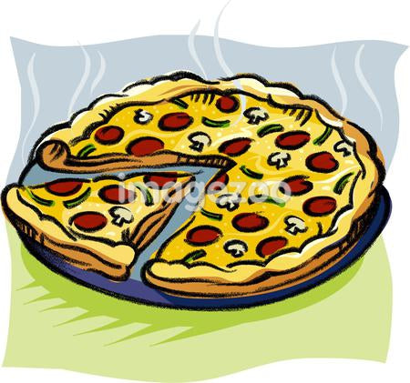 A pan of sliced pizza