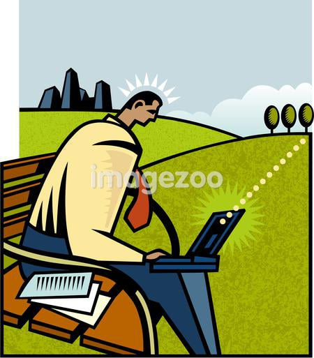 A man working remotely