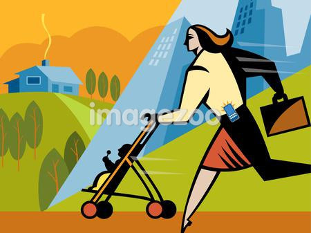 A businesswoman walking with her daughter in a stroller