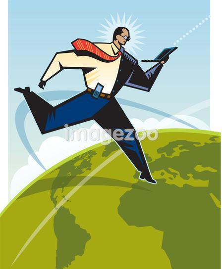 A man leaping over the globe while using a laptop