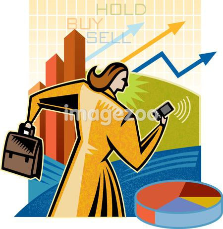 A woman buying and selling stocks
