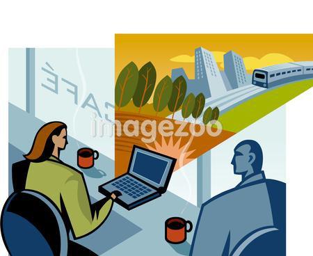 A man and woman in an internet cafe