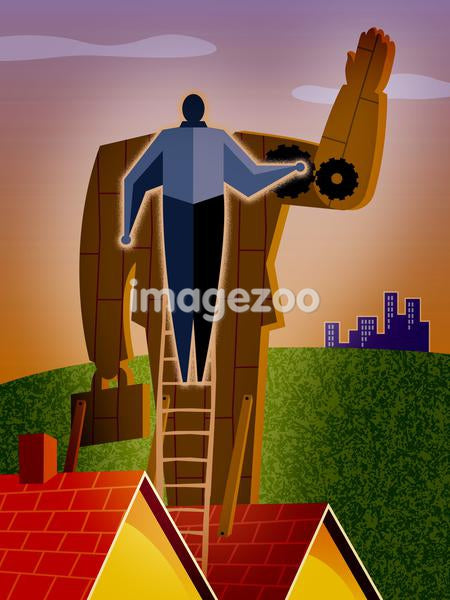 An illustration of a person controlling a businessman