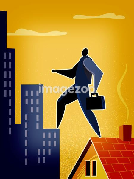 A man walking from the roof of a house to a high rise building