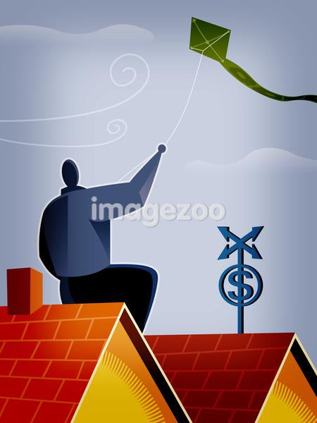 A man flying a kite from the roof of a home