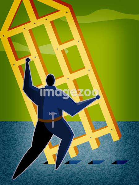A man putting up a frame of a house
